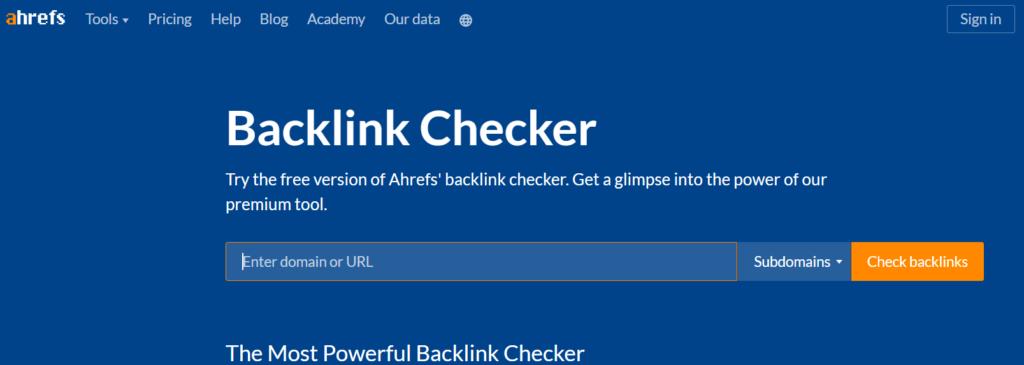 ahrefs free backlink checker tool