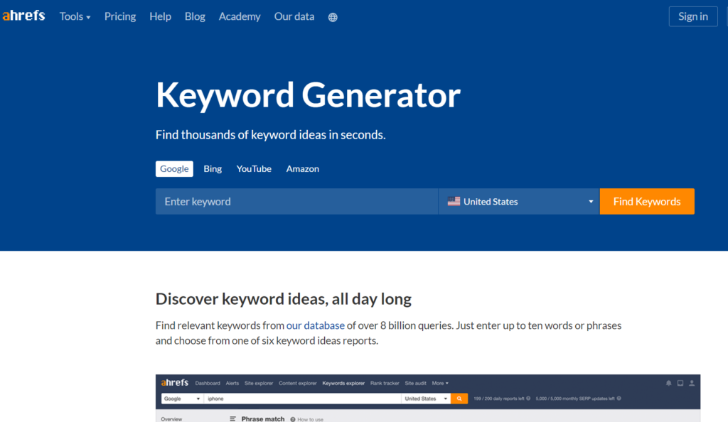 ahrefs free keyword research tool