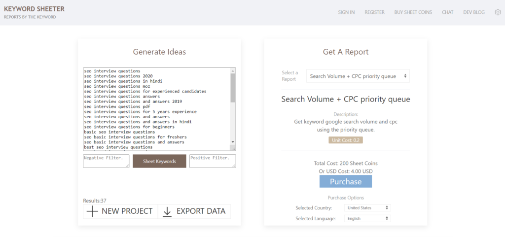keyword sheeter free keyword research tool