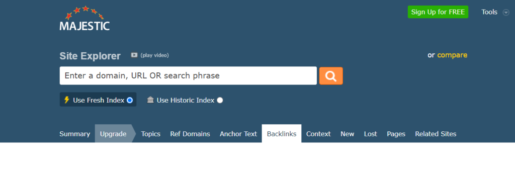 majestic site explorer free backlink checker tools