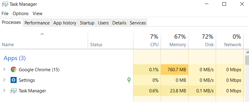 task manager  to speed up windows 10
